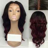 Cheap Body Wave Ombre full lace wigs human hair Bleached Knots Glueless Front Lace Two Tone Black Burgundy Ombre Hair Wig For Black Women