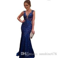 Wholesale 2016 Sexy Lined Long Lace Evening Dress gowns women vintage elegant V neck Prom Dresses Formal Evening