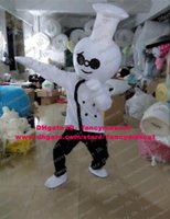 big black cook - Skilled White Cook Chef Kitchener Baker Mascot Costume Cartoon Character Mascotte Big Hat Black Glasses Smiling Face No FS