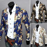Wholesale hot selling high quality slim fit blazer mens causal jackets new men fashion leisure flower suit Brand new