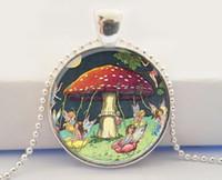 art glass mushroom - Mushroom Pendant Mushroom with Fairies Mushroom Necklace Glass Dome Art Pendant