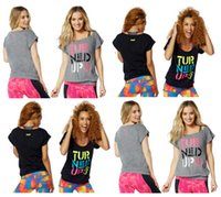 Wholesale S M L woman t shirtTurned Up Bubble Tee tshirt yoga tops black grey color