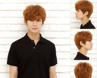 Wholesale Short Brown Men Curly Wig - Short curly fluffy Wigs For Handsome Man top Quality Cool Korean Men Wigs Nnatural Hair Synthetic Short Cosplay Male Hair Wigs from lomefo