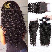 Wholesale Trebellar Hair Brazilian Deep Wave With Closure Unprocessed Brazilian Deep Wave Virgin Hair Human Hair Bundles With Lace Closures