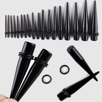 Wholesale black set pack ear taper and plug stretching kits flesh tunnel ear gauges stretcher expander body piercing jewelry G G