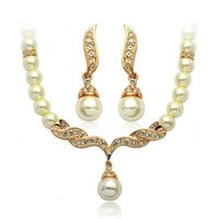 agate jewelery - Fashion Women Girl s K Gold Plated Jewelery Sets Simulated Pearl Angle Wing Statement Necklace Dangle Earrings Set For Bride