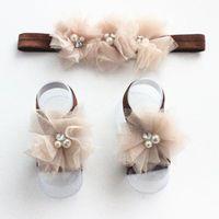 al por mayor sandalias de perlas flores-Cinta de cabeza 3pcs / Set multicoloras de la manera de los bebés recién nacidos de encaje + sandalias descalzas del pie flor de la perla de la venda