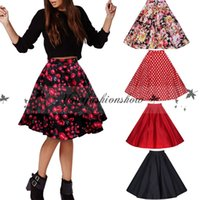 Wholesale Casual Rose Floral Print Skirts Womens Vintage Party s Elegant Flowers Summer Saias Femme Retro Midi Swing Skirt M58