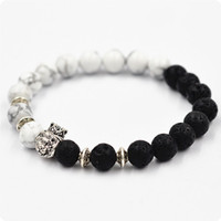 Wholesale White pine lava rock Plated Leo Lion Head Bracelet Men Black Lava Stone Beads Charm Bracelets Jewelry Masculino Plusera M4