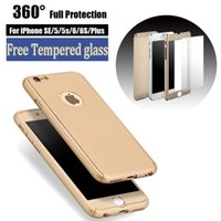 TPU apple protective cover - Utra Thin Slim Degrees Hard PC Coverage Protective Tempered Glass Cover Case For iPhone Plus S Plus SE S Samsung Galaxy S7 edge S6