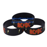 ac dc punk - PC AC DC silicone wristband Rock band Fans Bracelets Punk Metal Gift Custom Accepted