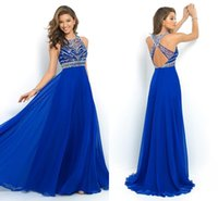 Wholesale Cheap Crystal Beads Backless Designer Evening Dresses Long Crew Neck Sleeveless Chiffon Royal Blue Party Prom Gowns Party Dress CPS205