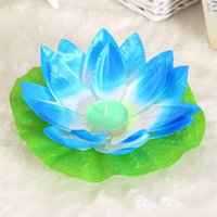 Wholesale 20pcs Multicolor silk lotus lamp pray Wishing floating water wishing lanterns with candle for birthday wedding party decoration