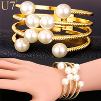 Wholesale U7 Pearl Bracelets For Women Fashion K Gold Plated Jewelry Multi Layers Cuff Bracelets Bangles Pearl Jewelry H782
