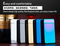 electric gas - Cigarette lighter Smoking Accessories Electric Arc Windproof Rechargeable Flameless No Gas Metal Pulse USB Lighters Multicolor