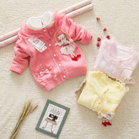 Wholesale girl sweater newborn spring and Autumn cardigan sweater female child dancing design cotton sweater kids casual button sweater
