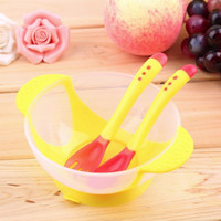 Wholesale Popular Baby Infants feeding Bowl With Sucker Temperature Sensing Spoon Baby Learnning Dishes Assist food Spoon Bowl Set