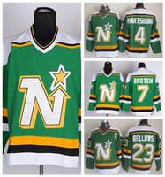 Wholesale Dallas Stars Throwback Jerseys Ice Hockey Craig Hartsburg Neal Broten Brian Bellows Jersey Retro Alternate Green White