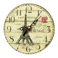 antique clocks french - 2016 New Arrival Diameter CM Vintage France Paris Eiffel Tower Wall Clocks French Country Round Wood Wall Clock Hot Sale
