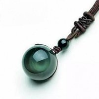 beads and stone necklace - Natural Stone Black Obsidian Rainbow Eye Beads Ball Pendant Transfer Lucky Love Crystal Jewelry With Free Rope For Women and Men