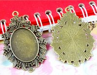 Wholesale A3404 MM Fit MM Oval metal stamping pendant blanks antique bronze cameo base vintage tibetan cabochon setting bezel tray