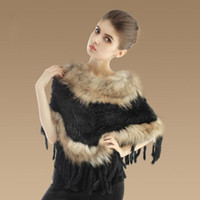 Wholesale Brand New Women Cape Coat Winter Warm Real Rabbit Fur Shawl Pc TP99048