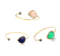 Wholesale 2016 Color Teardrop Stone Asymmetric Cuff Bangle Pave Rhinestones Charms Edge Gold Plating for Lady