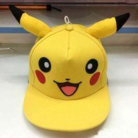 Wholesale Anime Cosplay Poke Pocket Monster Ash Ketchum Baseball Cap Pikachu cute Hip Hop Cap Hat Gift Cool Fashionable