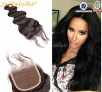 Wholesale 7A Cheap Brazilian Body Wave Closure Free Middle Part Lace Top Closure Bleached Knots Brazilian Natural Hair