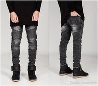 Wholesale 2016 Men Classic Jeans Balmain Skinny Jeans Blue Knee Drape Panel Moto Biker Jeans Fashion Style Pants