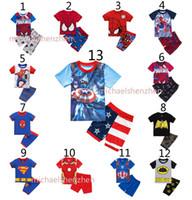 america pajamas - Boys Batman spiderman Pajamas suits DHL Design children Avengers Captain America Iron Man Short sleeve T shirt shorts suit B001