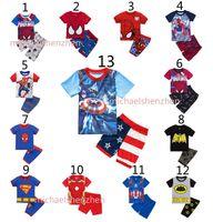 Wholesale Boys spiderman Pajamas suits DHL Design children Avengers Captain America Iron Man Short sleeve T shirt shorts suit B001