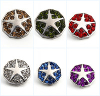 Wholesale 2016 Pack Of Color Metal Snap Buttons Charm Rhinestone Styles Star Rivca Snaps Jewelry NOOSA Chunk E638E