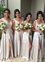 Wholesale 2016 Beach Bridesmaid Dresses Lace Appliques Maid of the Honor Dresses Sexy Side Split Evening Dresses Custom Made Cheap Prom Dresses