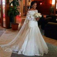Cheap Hot Sale Lace Boat Neck Long Sleeves Wedding Dresses Mermaid White Tulle Sheer Cheap Women Vestido De Noiva Corset Back Bridal Gown 2017
