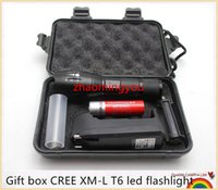 Wholesale 10PCS HONG Gift box CREE XM L T6 Lm focus adjustable modes led flashlight torch lamp light with charger