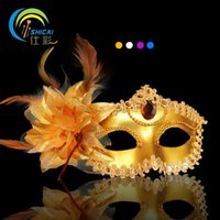 Wholesale Venice Half Face Lily Feather Mask Fancy Ball Party Princess Mask Masquerade Masks Female Ladies Dress Beauty Big Flower Golden