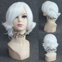 Wholesale Heat Resistant gt gt Fashion New Holloween Wig Short Curly Wavy Hair Costume Anime White Wigs