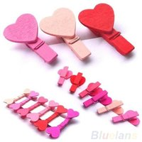 Wholesale 12Pc BAG Mini Heart Love Wooden Clothes Photo Paper Peg Pin Clothespin Craft Clips YXF