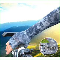 Wholesale 2016 NEW Unisex Summer Sun Protective Camouflage Arm Warmer Glove for Fishing Riding Cycling Running Glof Non slip