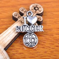 soccer jewelry - Hualu Pieces mm Sport Football I Love Soccer Charms Tibetan Silver Jewelry Pendant Making Fingding necklace Bracelet Earring