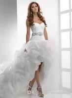 corset high low wedding gowns - Hi low Wedding Dresses Beach wedding dress Sweetheart Ruffled Beaded Sash Corset Back Bridal Gowns High Quality Custom made