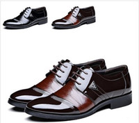 Wholesale Men Leather Shoes Pointed Toe Lace Up Mens Shoes Flats Fashion Splice Business Dress Shoes For Men Size