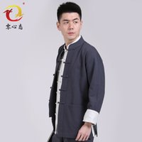 Wholesale wind Chinese collar men s middle aged men cotton casual dresses long sleeved suit thin section of Tai Chi Buddhist