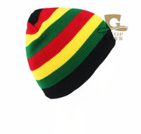 Wholesale Rasta hat winter warm knitted hats Jamaica beanie caps hip hop cap Bob Marley Rasta Reggae hats for Women Men Unisex Hot