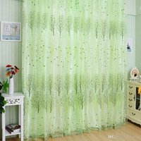 Wholesale 1Pc Fashion Green Pachira Offset Printing Window Tulle Door Curtain Panel Valances Syeer Sheer Curtains E00620 OSTH