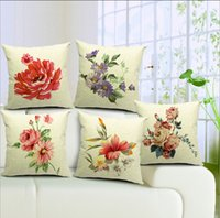 american rest - American Rural Countryside Poetic Garden Colored Ink Painting Graceful Feel Linen Flower Pillow Sofa Rest Bolster Back Support Cushion Cover