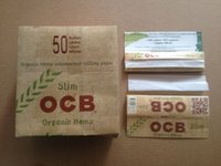 Wholesale Newest OCB Slim Flax Rolling Smoking Papers Natural Arabic Gum Papers Organic Hemp Unbleached Pure Cigarette Paper Size mm booklets