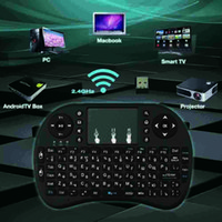 Wholesale 2 G RF Rii I8 Wireless Keyboards Touch Pad mouse Backlit gaming Keybord for HTPC Tablet Laptop PC