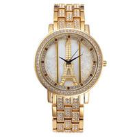 jewelry paris - New Paris Eiffel Tower Fashion Generous Black Stone Dial ate Dress watches Brand Diamond Jewelry Buckle